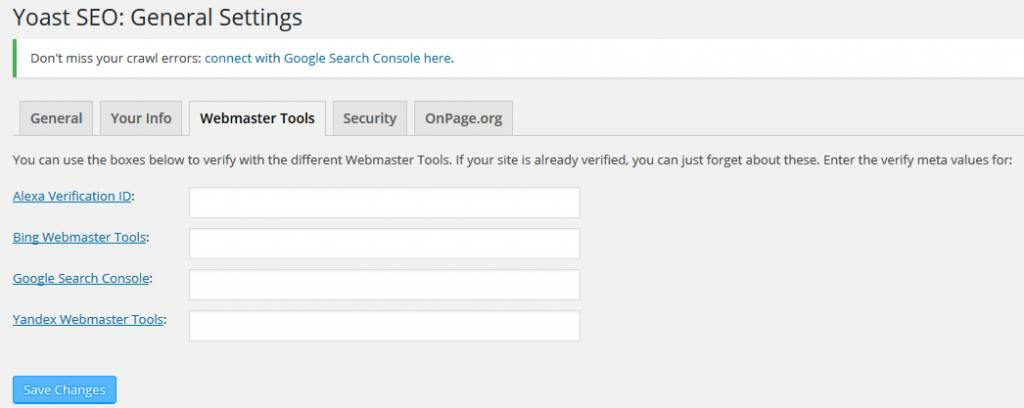 general settings in the yoast seo plugin